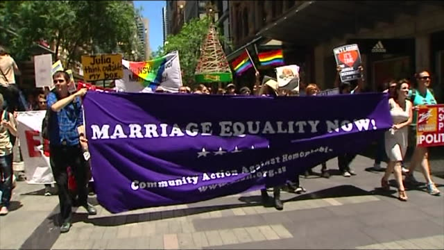 passions have boiled over in the gay marriage debate with hundreds of supporters and opponents clashing in sydney gay marriage rights protestors and... - protestor stock videos & royalty-free footage