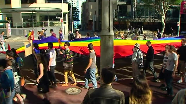 comedian magda szubanski and the half brother of federal politician bob katter have headlined a same sex marriage rally in the city thousands turned... - political rally stock videos & royalty-free footage