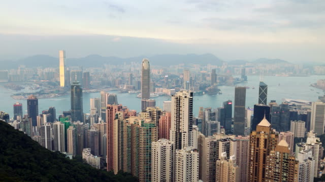 hong kong harbour time-lapse from the victoria peak - victoria peak stock videos & royalty-free footage