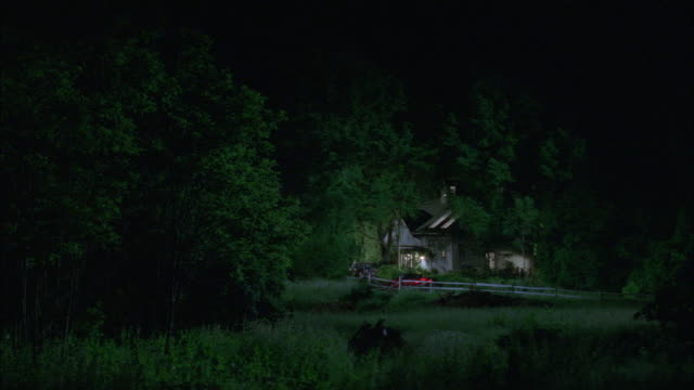 wide angle of cabin in forest. see red car drive up from right and park. - 小屋点の映像素材/bロール
