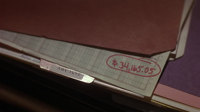vídeos de stock e filmes b-roll de close angle of monthly budget folder.  total number of 34,165.05 is circled and written in red ink. could be used as insert. - ficheiro