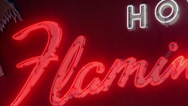 MEDIUM ANGLE OF NEON FLAMINGO HOTEL SIGN. SEE RAIN.