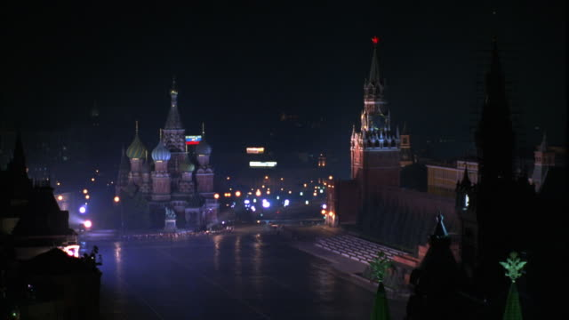 wide high angle down of red square. see st. basil's cathedral on left. - st. basil's cathedral stock videos and b-roll footage