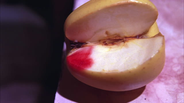 close angle of apple with blood on it resting on counter top in bathroom. - bloody gore stock videos & royalty-free footage