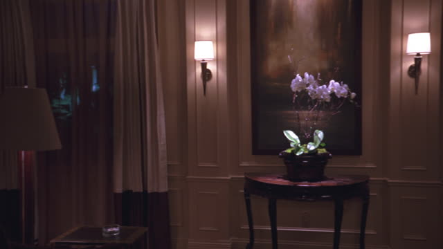 vidéos et rushes de steadicam shot of modern and upper class hotel or apartment room. camera pans  down hallways and into other rooms. the lights are turned on as the camera focuses on main sitting or living room. modern paintings on walls. - stéréotype de la classe supérieure
