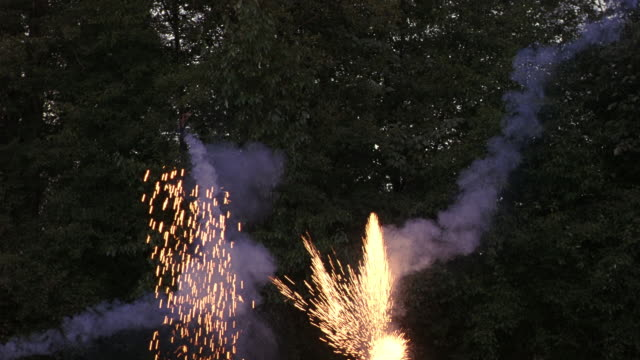 MEDIUM ANGLE OF WOODS, TREES. FIREWORKS, SPARKS, EXPLOSIONS EMANATE FROM BELOW FRAME.