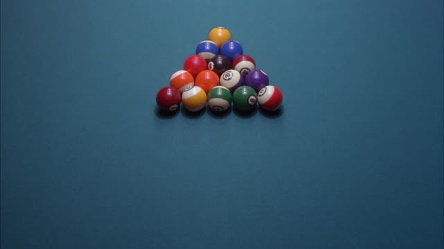 high angle down of pool table with pool balls racked in triangle. white ball breaks rack as balls spread in multiple directions. - rack stock videos & royalty-free footage
