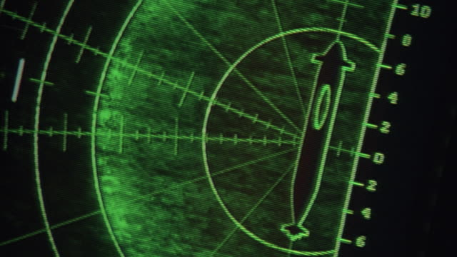 close angle, sonar display with missile launch graphics and activity on screen.  see collision alert flash on screen as two missile shapes move from left toward submarine at right. see crash and green graphics. - submarine stock videos & royalty-free footage