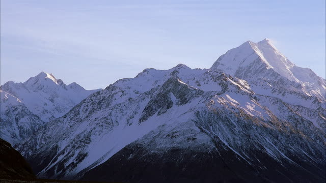 medium angle of snowy mountains or snow covered mountain range. see clear blue sky in background. could be southern alps or alaska. - schneebedeckt stock-videos und b-roll-filmmaterial