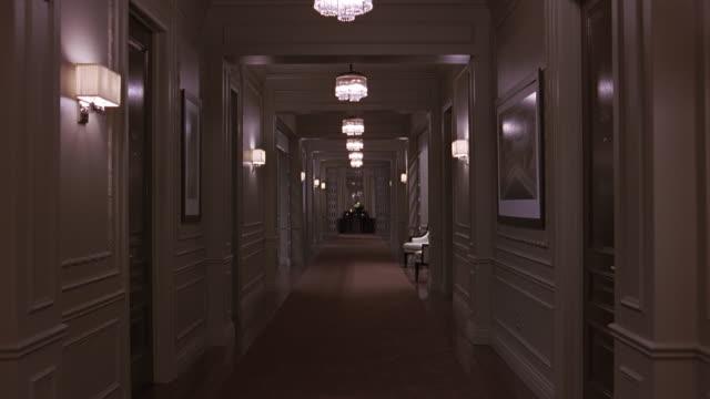 wide angle of hallway in hotel or upper class apartment building. mirror at the end of the hallway. - corridoio caratteristica di una costruzione video stock e b–roll
