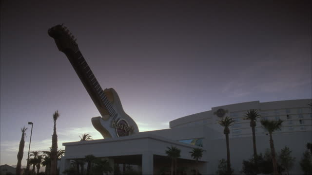 up angle of sign for hard rock cafe hotel and casino. - hard rock cafe stock videos & royalty-free footage