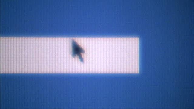 close angle of computer monitor. computer mouse pointer on blue moves to bottom left and clicks on trash icon. monitor flashes with many different numeric images and menus. insert. - cursor stock videos & royalty-free footage