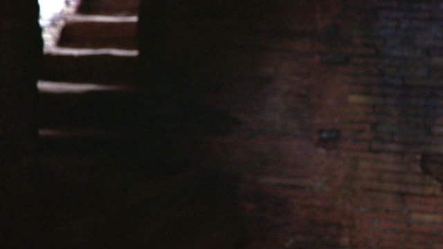 MEDIUM ANGLE OF A DARK BASEMENT OR LAIR OR DUNGEON OUT OF FOCUS. SEE WORN BRICK WALL. STAIRS IN BACKGROUND. SEE LIGHT COMING FROM UPSTAIRS AND SHINING ON GROUND.