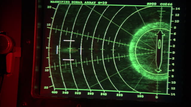vidéos et rushes de medium angle, sonar display with missile launch graphics and activity on screen.  see collision alert flash on screen as two missile shapes move from left toward submarine target at right. see crash and green graphics. - missile