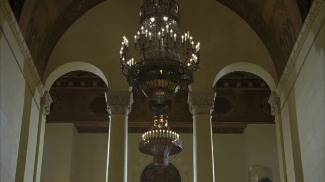UP ANGLE OF CHANDELIERS, COLUMNS, ARCHES AND VAULTED CEILING WITH MURAL IN MILLENNIUM BILTMORE HOTEL.