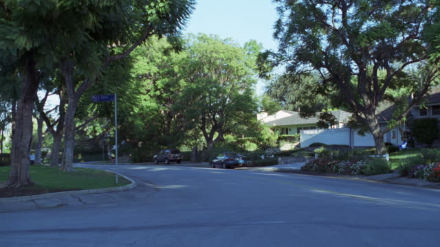 MEDIUM ANGLE OF STREET IN MIDDLE CLASS RESIDENTIAL AREA WITH HOUSES AND TREES. 1980 BLACK FORD MUSTANG APPEARS FROM LEFT AND EXITS TO RIGHT.
