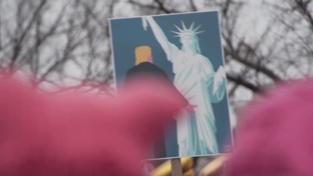 2017 women's march - demonstrant stock-videos und b-roll-filmmaterial