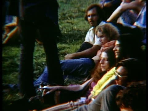 men and women sitting on grass at woodstock music festival/ bethel, new york, usa - 1969 stock videos & royalty-free footage