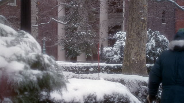 MEDIUM ANGLE OF STUDENTS IN WINTER JACKETS OR COATS ON COLUMBIA UNIVERSITY. SNOW ON TREES AND BUSHES.