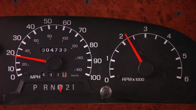 close angle of speedometer and tachometer panel on dashboard of vehicle. speedometer reads 20 then goes to 0 as rpms move to maximum. car is in drive. mileage reads 4,733. - camper van stock videos and b-roll footage