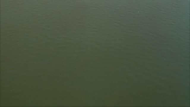 vídeos y material grabado en eventos de stock de aerial, pan up from ohio river to downtown pittsburgh skyline. office buildings, bridges, skyscrapers. three rivers stadium on left. - río ohio