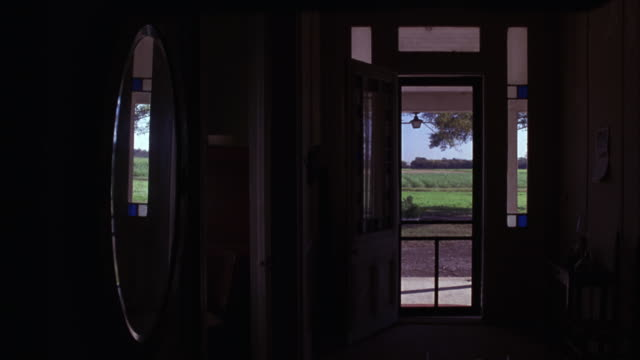 medium angle of a hallway leading to an open door.  the inside of the house is dark, and the screen door is closed.  the bright day outside.  a green farm field, a dirt track, and a tree. could be a ranch house. - farmhouse stock videos & royalty-free footage