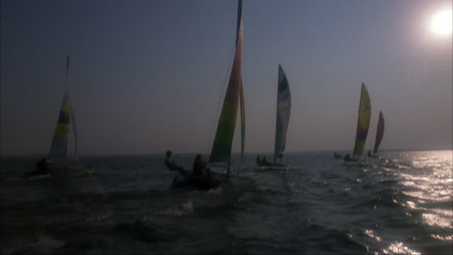 medium angle front moving pov of handful of sailboats or catamarans sailing forward across body of water or lake. sailboats have logos of sponsors. most likely during a race. see sun is shine on right. - 双胴船点の映像素材/bロール