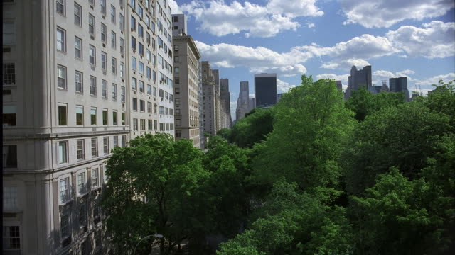 vidéos et rushes de wide angle of apartment buildings on left. looking over the trees of central park. clouds pass overhead creating shadows on the trees. 28 fps. middle or upper class. - central park manhattan