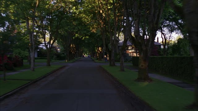 process plate straight forward of a long narrow street in a residential area or neighborhood. trees line street. two story houses. pov turns right and continues down another street. likely middle class. - middle class stock videos & royalty-free footage