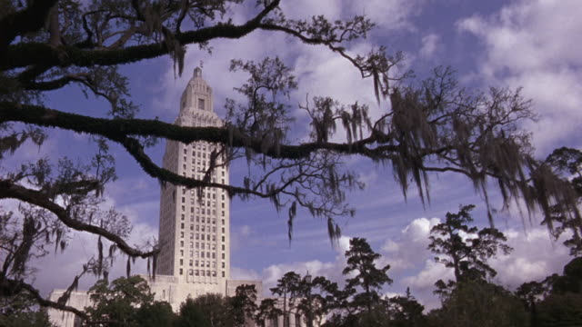 wide angle of the louisiana state capitol building in baton rouge.  the art deco skyscraper hides behind a tree branch covered in spanish moss. - baton rouge stock-videos und b-roll-filmmaterial