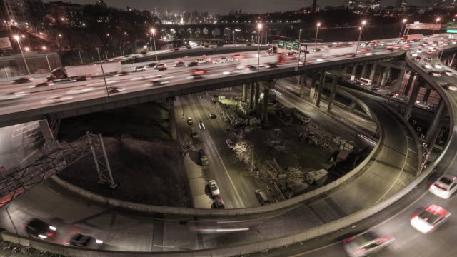 NYC HIGHWAY TRAFFIC PANNING MOTION TIMELAPSE OF CROSS BRONX EXPRESSWAY