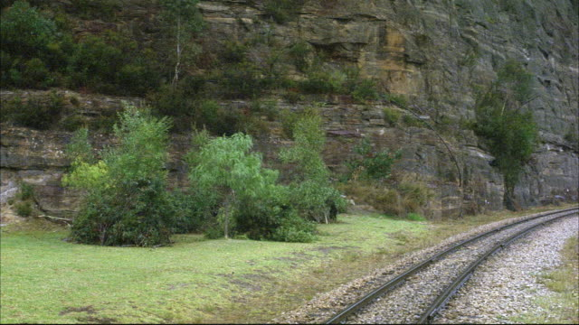 wide angle of railroad track with rock wall on left. green grass and trees at base of cliff. black steam engine train enters from right.  steam rises from bottom of train and fills frame. boxcars pass through steam as train rolls out of view. - c119gs点の映像素材/bロール