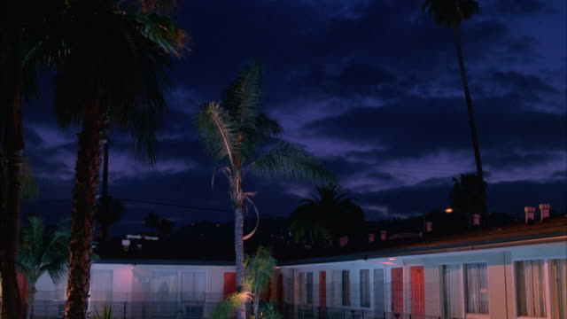 pan down from palm trees to motel or hotel pool and courtyard. pool is illuminated and lights reflect off of walls of building. black fence surrounds pool. - motel stock videos and b-roll footage