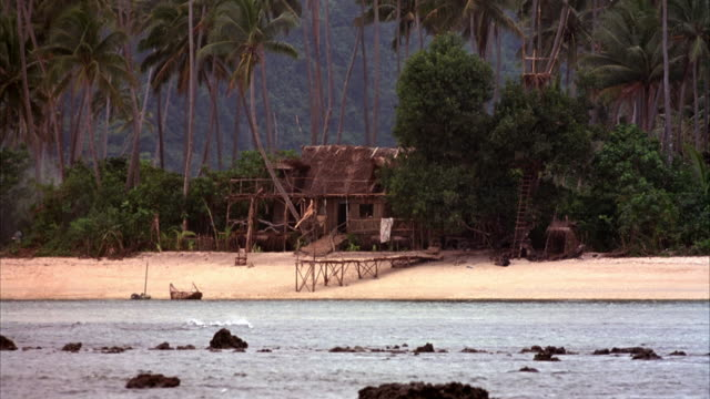 wide angle of makeshift beach house on shore. see small dock in front, several palm trees in background and rocks sticking up through water. - pazifikinseln stock-videos und b-roll-filmmaterial