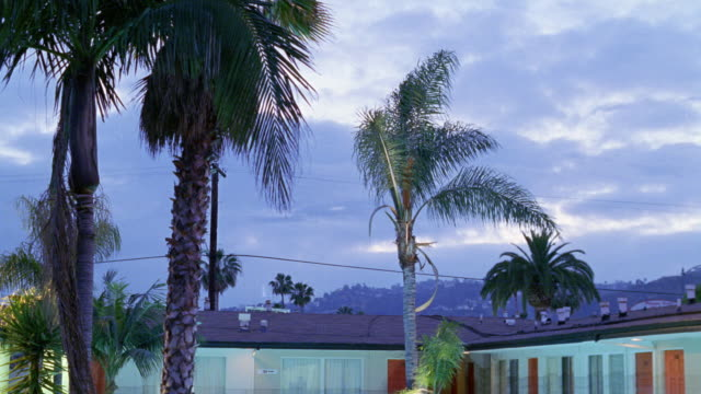 medium angle of top story of two story apartment building or motel and palm trees. see cloudy dusk sky. pans down to courtyard of motel with lit pool. see palm trees on left. building is green with orange doors. see fence around pool. - motel stock videos & royalty-free footage