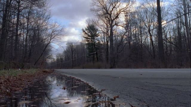 MEDIUM ANGLE OF COUNTRY ROAD WITH FOREST ON BOTH SIDES. TREES HAVE NO LEAVES ON BRANCHES, PROBABLY LATE FALL OR WINTER. BLACK FORD ESCORT DRIVES FROM RIGHT TO LEFT.