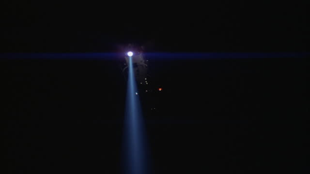medium angle of police helicopter with search light slowly landing on helicopter pad or rooftop and taking off. neg cut. - searchlight stock videos & royalty-free footage