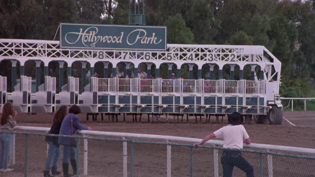tracking shot of horse race, sign above starting gates reads hollywood park. gates open and horses run out onto race track to right, tracks a short distance. - inglewood video stock e b–roll