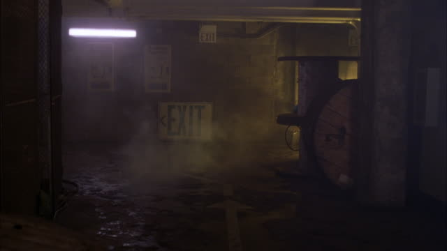 MEDIUM ANGLE INSIDE BASEMENT OF WAREHOUSE OR RUNDOWN BUILDING. SEE BASEMENT FLOOR FLOODED WITH WATER. FLUORESCENT LIGHTS OVERHEAD. SEE LARGE EXIT SIGN ON WALL IN BACKGROUND. YELLOW LIGHT SHINING FROM OFFSCREEN ON RIGHT.
