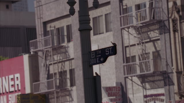 UP ANGLE OF STREET SIGN ON LAMP POST THAT READS 8TH STREET - 300E. PANS UP AND RIGHT TO SEE OPEN WINDOWS OF TENEMENTS OR LOWER CLASS APARTMENT BUILDING.