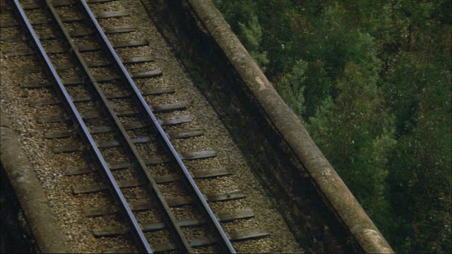 high angle down of train tracks on brown stone bridge. see green leafy trees below. see black steam engine train enter top pov. see steam rising from sides of train. see boxcars behind engine. see steam from engine fill pov. - c119gs点の映像素材/bロール