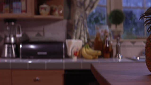 CLOSE ANGLE OF PINEAPPLE PLACED ON COUNTER TOP OR CABINET ISLAND IN KITCHEN OF HOME OR RESIDENCE. BLENDER, COFFEE POT, BANANAS, OIL, VINEGAR AND KITCHEN SINK BELOW WINDOW IN BG. SNOW OUTSIDE. APPLIANCES. FRUIT. FOOD.