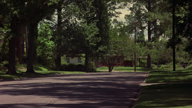 medium angle of two lane country road. see tall forest and green grass at sides of road. see one story red and white middle class house in background. - middle class stock videos & royalty-free footage