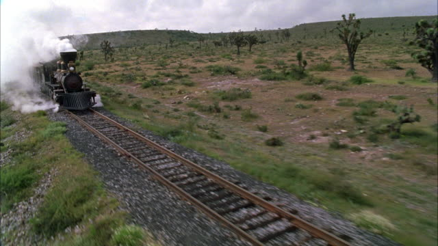 MEDIUM ANGLE OF TRAIN MOVING DOWN RAILROAD TRACKS IN DESERT OR ARID REGION. SEE WHITE STEAM RISE FROM ENGINE OF TRAIN. SEE GREEN TREES, BRUSH, AND CACTI IN SURROUNDING AREA. SEE SMALL HILLS OR MOUNTAINS IN BACKGROUND.
