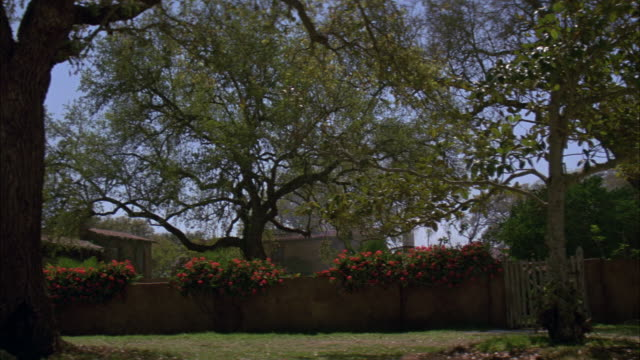 PAN UP OF RANCH HOUSE IN RURAL AREA OR VILLAGE. NEG CUT. TREES AND FLOWERS GROWING AROUND STONE WALL AND GATES. COURTYARD. MATCHING DX/NX 3139-039 TO 3139-042; 3139-045 TO 3139-050; 3140-023, 3140-024; 3143-001, 3143-002, 3143-007.