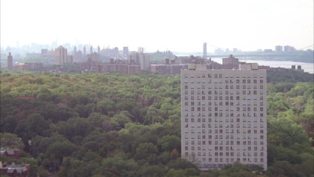aerial of new york city skyline as seen from fort washington park in northern manhattan. see george washington bridge in far right background. skyscrapers of midtown manhattan visible in distance. - tree fort stock videos & royalty-free footage