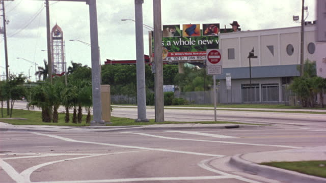 medium angle driving pov on city street. shot pans left to right, see billboard that says it's a whole new world, advertisement for zoo, to right of moving pov. see palm trees on side of street pass by. see white jeep wrangler cut in front of shot. - billboard stock-videos und b-roll-filmmaterial