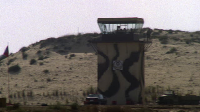 TRACKING SHOT A CAMOUFLAGE F-16 FIGHTER JET DESCENDING. SEE JET OUT FLY BEHIND SANDY MOUNTAIN AND OUT OF VIEW. SEE CAMOUFLAGE CONTROL TOWER IN FRONT OF MOUNTAIN. MIDDLE EAST.