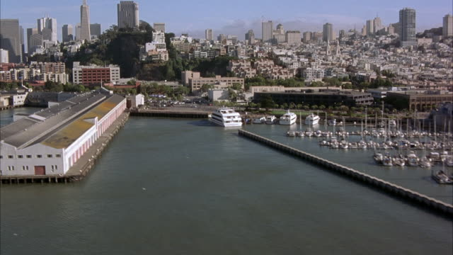 aerial downtown san francisco bay, fisherman's wharf with boats docked. russian hill, telegraph hill, apartment buildings, high rises, coit tower visible. embarcadero and downtown, financial disctrict skyscrapers in background. - coit tower stock videos & royalty-free footage