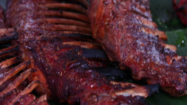 bbq ribs on grill - bbq sauce stock videos and b-roll footage